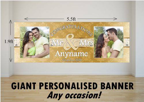 Personalised GIANT Large Congratulations Wedding Engagement Anniversary PHOTO Poster Banner N78